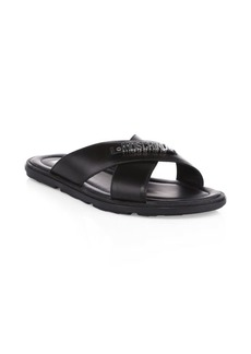 Moschino Logo Hardware Leather Sandals