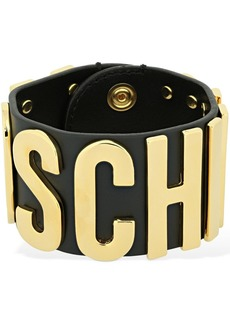 Moschino Logo Lettering Leather Belt Bracelet