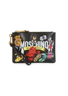 Moschino Logo Patches Leather Wristlet