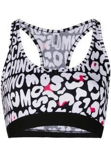 Moschino logo pattern sports bra top