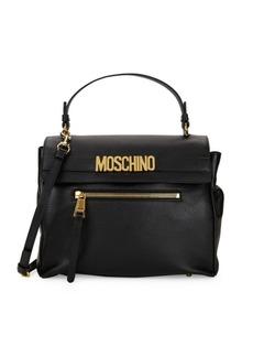 Moschino Logo Plaque Leather Satchel