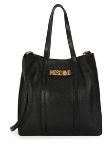 Moschino Logo Plaque Leather Tote