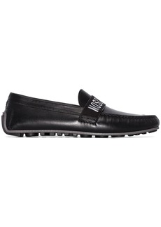 Moschino logo-print leather loafers