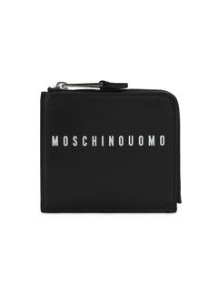 Moschino Logo Print Leather Zip Around Wallet