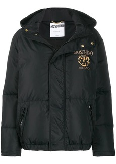 Moschino logo print padded jacket