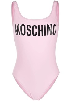 Moschino logo-print scoop-back swimsuit