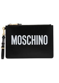 Moschino logo printed clutch bag