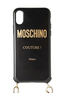 Moschino Logo Printed Iphone X/xs Cover W/ Chain