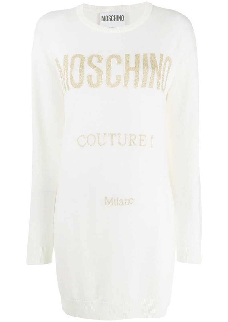 Moschino logo printed knit dress