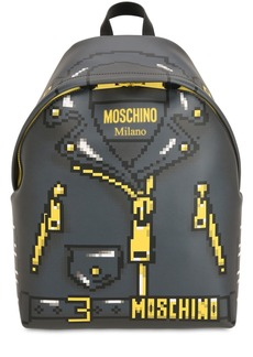 Moschino Logo Printed Leather Backpack