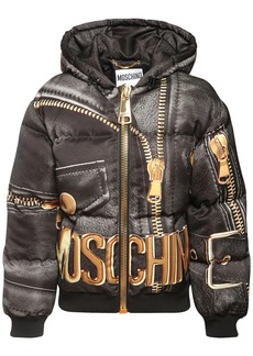 Moschino Logo Printed Shiny Nylon Puffer Jacket