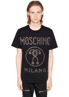 Moschino Logo Studded Cotton Jersey T-shirt