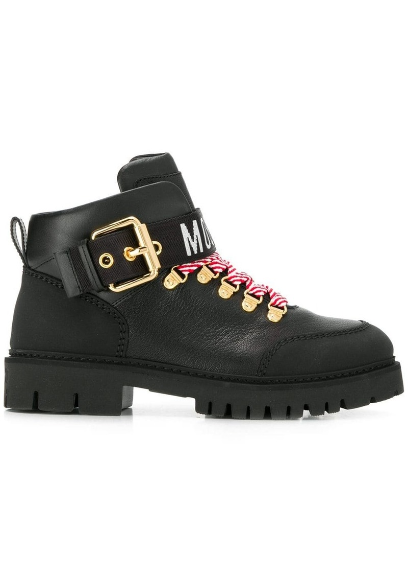 Moschino logo tape ankle boots