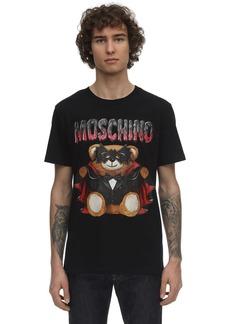 Moschino Logo Teddy Bear Print Cotton T-shirt