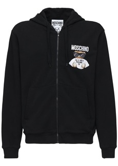 Moschino Logo Teddy Embroidery Cotton Zip Hoodie