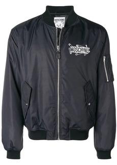 Moschino logo zipped bomber jacket