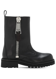 Moschino Macro Zip Leather Ankle Boots