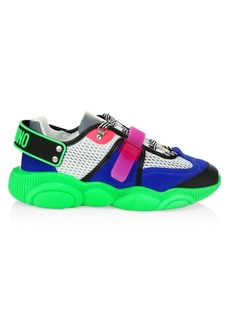 Moschino Men's Neon Patchwork Mix Media Sneakers