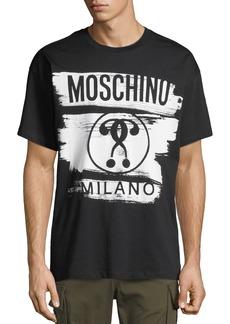 Moschino Men's Short-Sleeve Brushstroke Logo T-Shirt