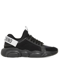 Moschino Mesh & Leather Sneakers W/teddy Sole