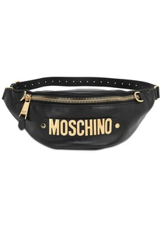 Moschino Metal Logo Leather Belt Bag