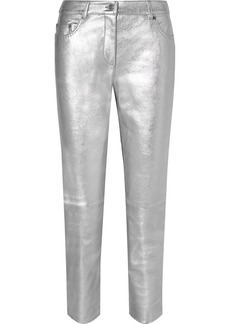 Moschino Metallic Leather Skinny Pants