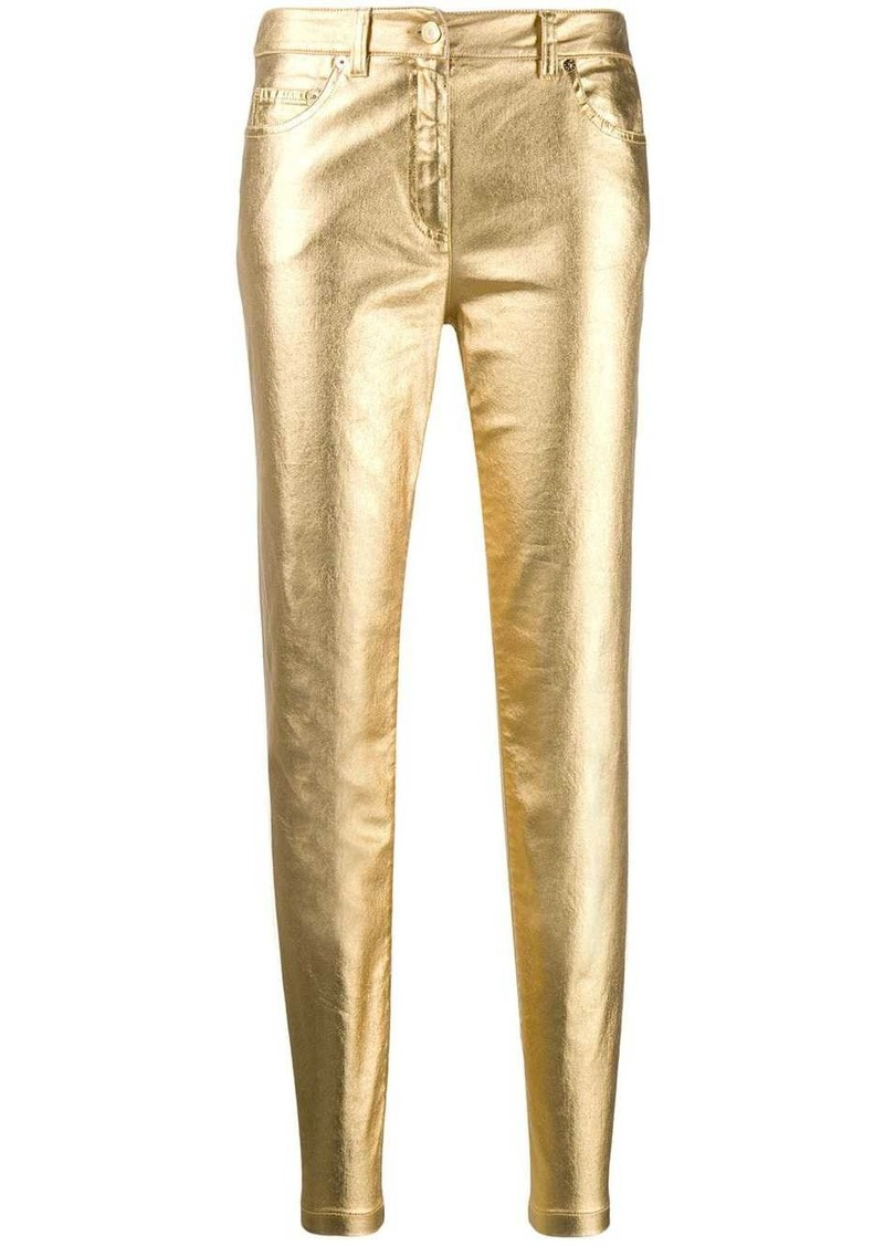 Moschino metallic slim-fit trousers