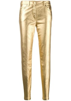 Moschino metallic slim-fit trousers