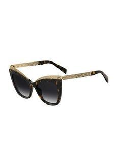 Moschino Mirrored Cat-Eye Sunglasses w/ Metal Curb Chain Arms
