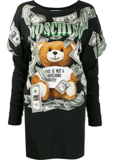 Moschino money-print Teddy Bear sweatshirt dress