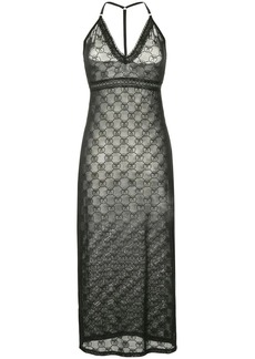 Moschino monogrammed mesh halterneck dress