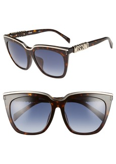 Moschino 55mm Special Fit Mirrored Cat Eye Sunglasses