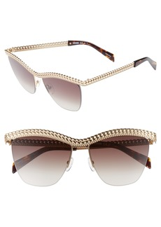 Moschino 57mm Rimless Metal Bar Polarized Sunglasses