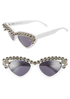 Moschino 59mm Studded Cat Eye Polarized Sunglasses