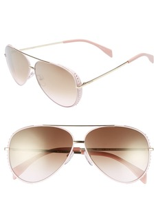 Moschino 61mm Metal Aviator Sunglasses