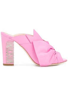 Moschino back logo embellished sandals - Pink & Purple