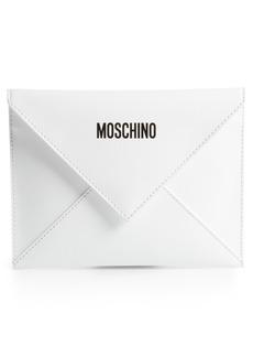 Moschino Be Mine Script Leather Clutch/Crossbody Bag