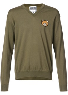 Moschino bear crest v-neck sweater