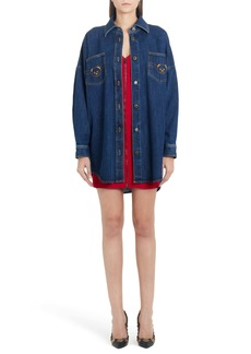 Moschino Bear Logo Long Sleeve Denim Dress