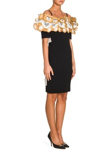 Moschino Bears Cold Shoulder Crepe Dress