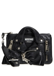Moschino Biker Jacket Leather Wristlet