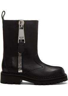 Moschino Black Macro Zip Ankle Boots