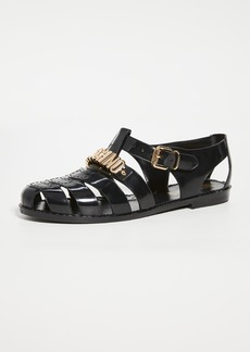 Moschino Black PVC Sandals
