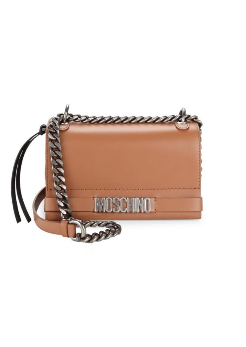 Moschino Chain Flap Leather Crossbody Bag