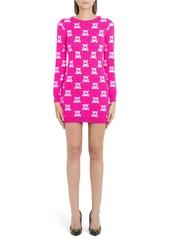 Moschino Checkerboard Bear Long Sleeve Wool Sweater Dress