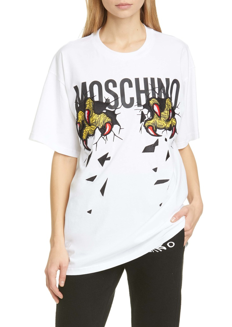 Moschino Claws Logo Cotton Graphic Tee