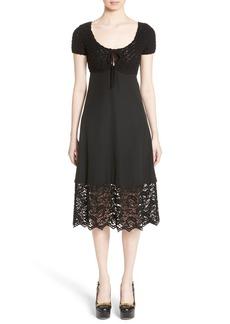 Moschino Crochet & Lace Silk Babydoll Dress