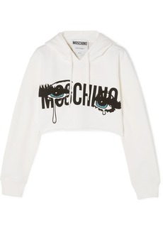 Moschino Cropped printed stretch-cotton jersey hooded top