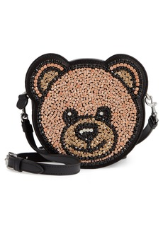 Moschino Crystal Teddy Leather Crossbody Bag