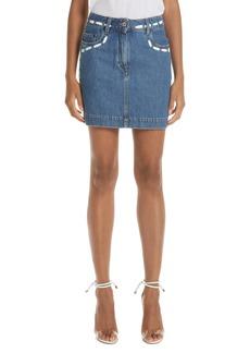 Moschino Dotted Line Denim Miniskirt